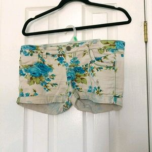 FWP Distressed Floral Jean Shorts